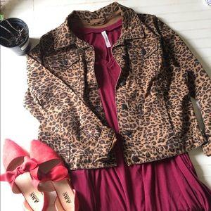 Leopard animal prints denim jacket boutique